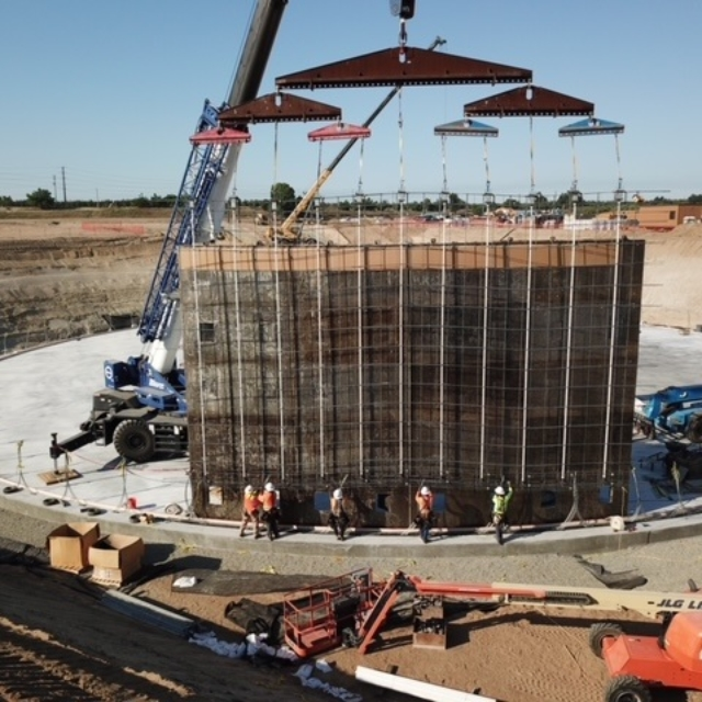 Contractor installing wall forms for the water storage tank.