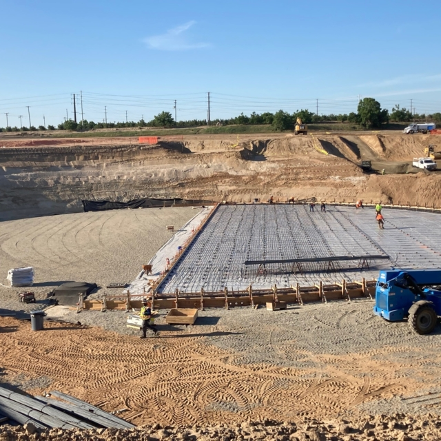 Reinforcing steel is being installed on one half of the storage tank floor in advance of a 500 cubic yard concrete pour this week.