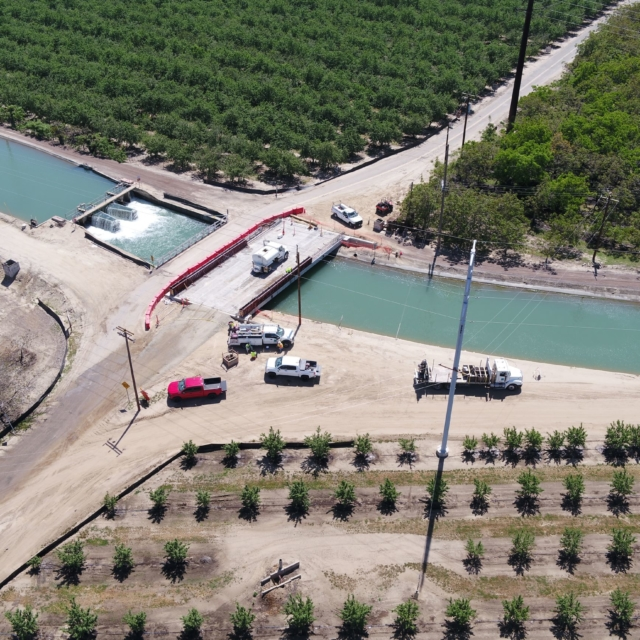 Aerial view of the construction at Aldrich Road Bridge