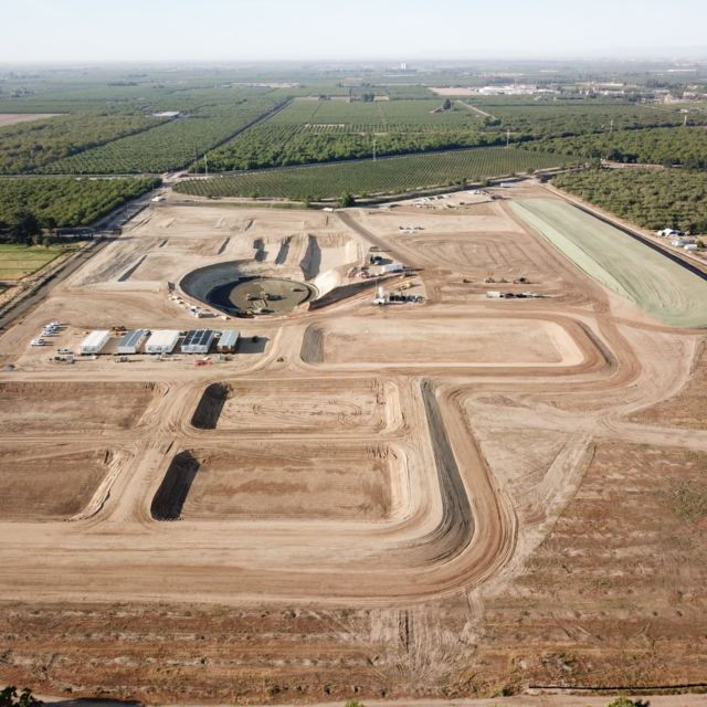Aerial view of the work underway at the Water Treatment Plant