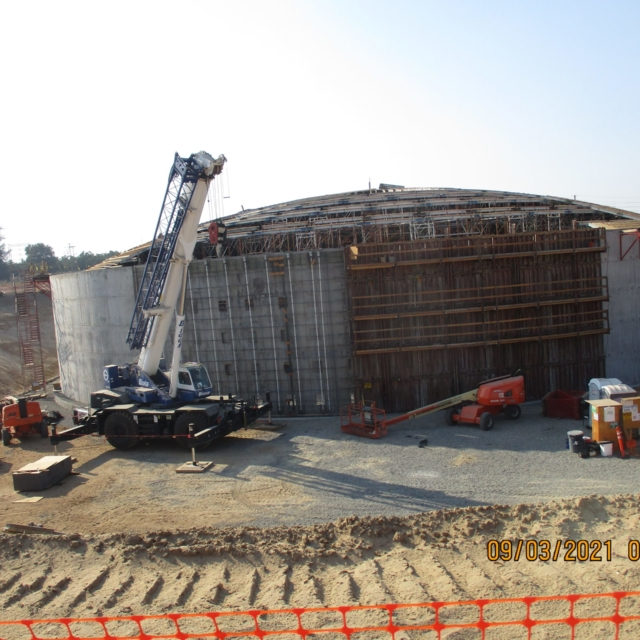 The contractor continues to erect scaffolding to support the dome on the inside of the water storage tank