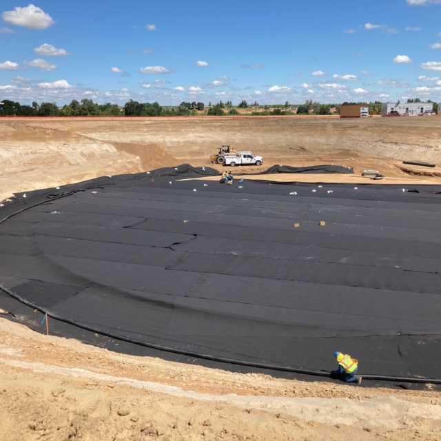 Geo fabric being placed as a first step to constructing a 5 million gallon water reservoir