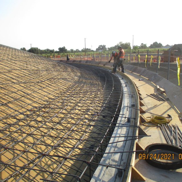 Reinforcing bar is being placed on the northwest side of the water storage tank dome