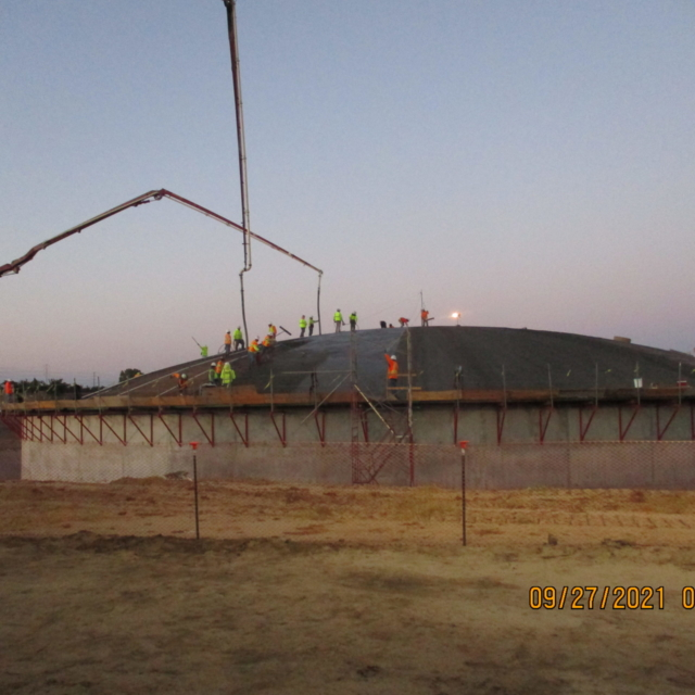 The first concrete placement of the water storage tank dome was completed on 9/27