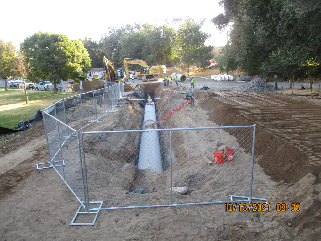Pipe lay at Fox Grove Park