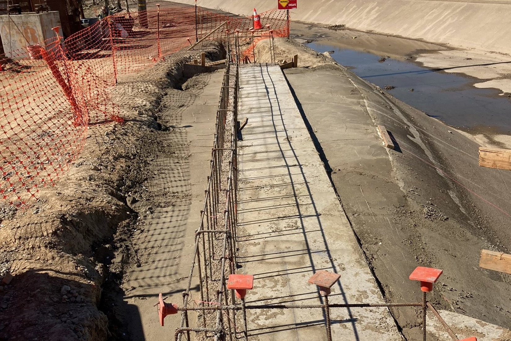 New foundations being installed at the Aldrich Road Bridge Replacement Project