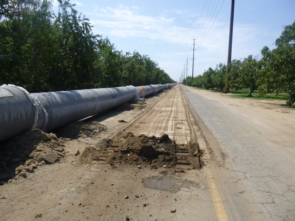 42 inch pipe is being staged along Aldrich Road