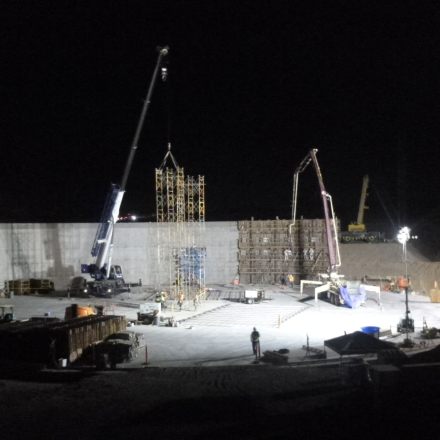 Wall installation underway for the Water Storage Tank