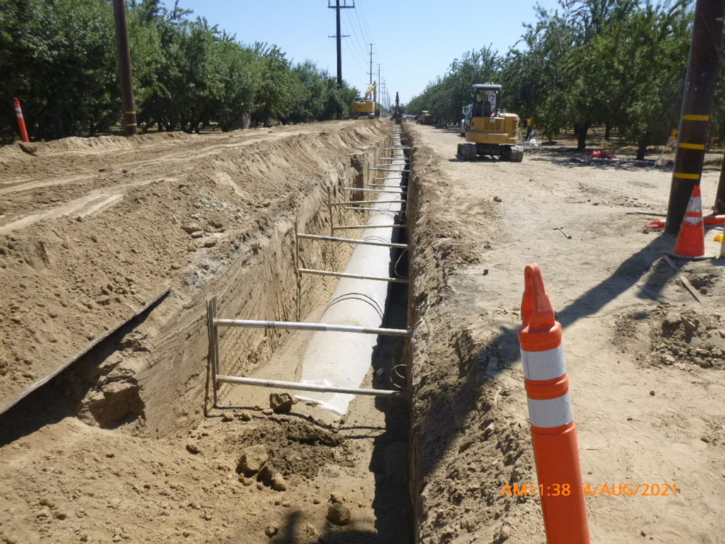 Pipeline installation is underway for the Turlock Finished Water Transmission Main