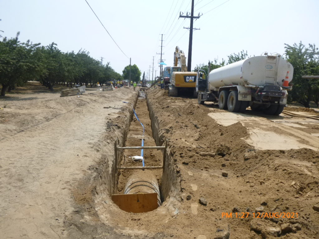 """The Contractor is continuing excavating and laying 42"""" steel pipe down Berkeley Rd"""