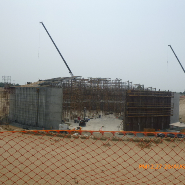 The contractor is continuing to erect dome shoring on floor slab of the water storage tank.