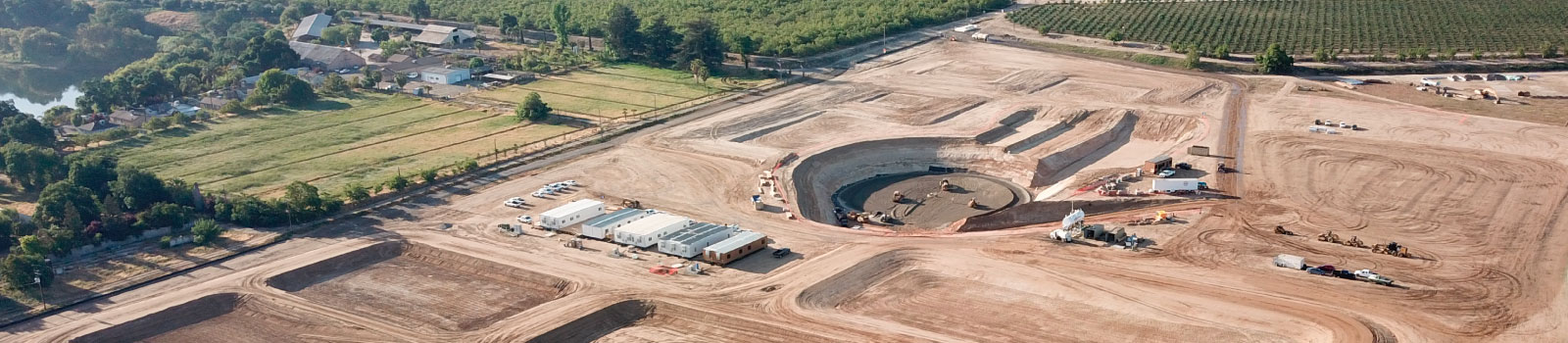 Aerial view of the work underway at the Water Treatment Plant desktop banner.