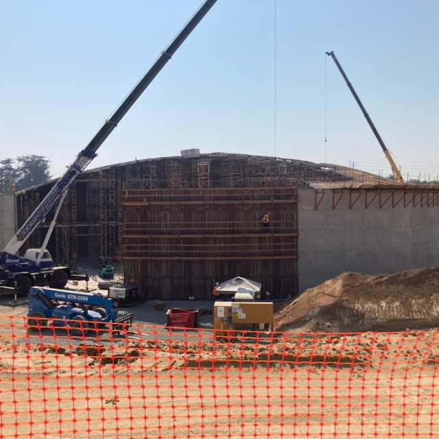 The contractor is installing falsework for the underside of the water storage tank dome.
